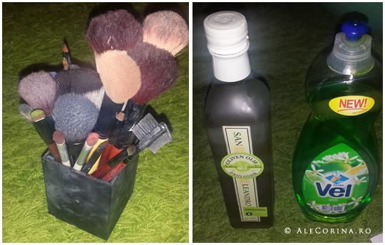 Brushes, olive oil, dishwasher liquid soap