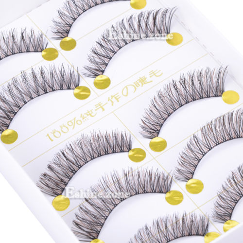 Makeup 5 Pairs Handmade Natural False Eyelashes Black & Brown Eye Lash Extension