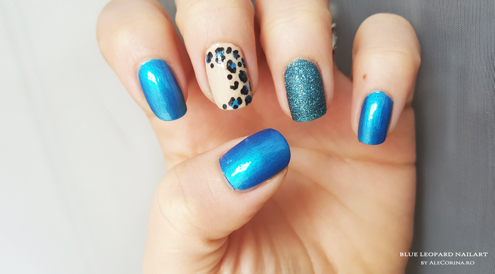 Blue and Nude Leopard Nail Art