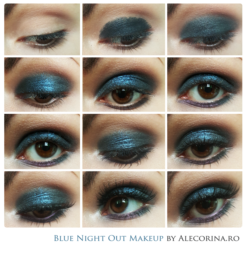 Blue Night Out Makeup Look Chart